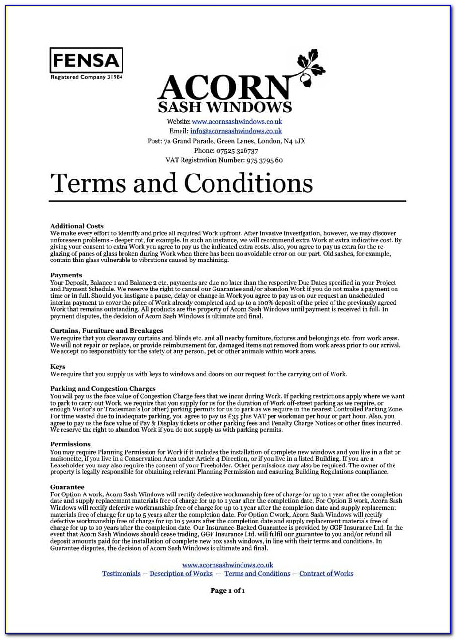 Terms And Conditions Of Sale Template Free Download Uk
