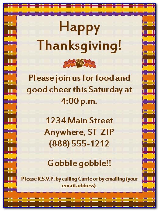 Thanksgiving Dinner Party Invitation Templates
