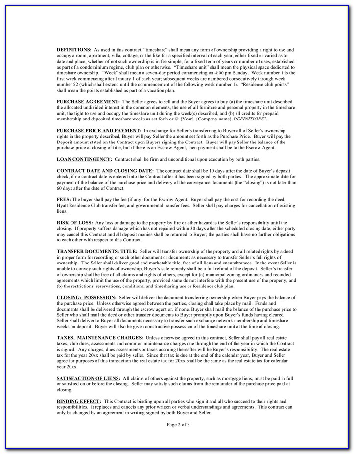 Timeshare Contract Template