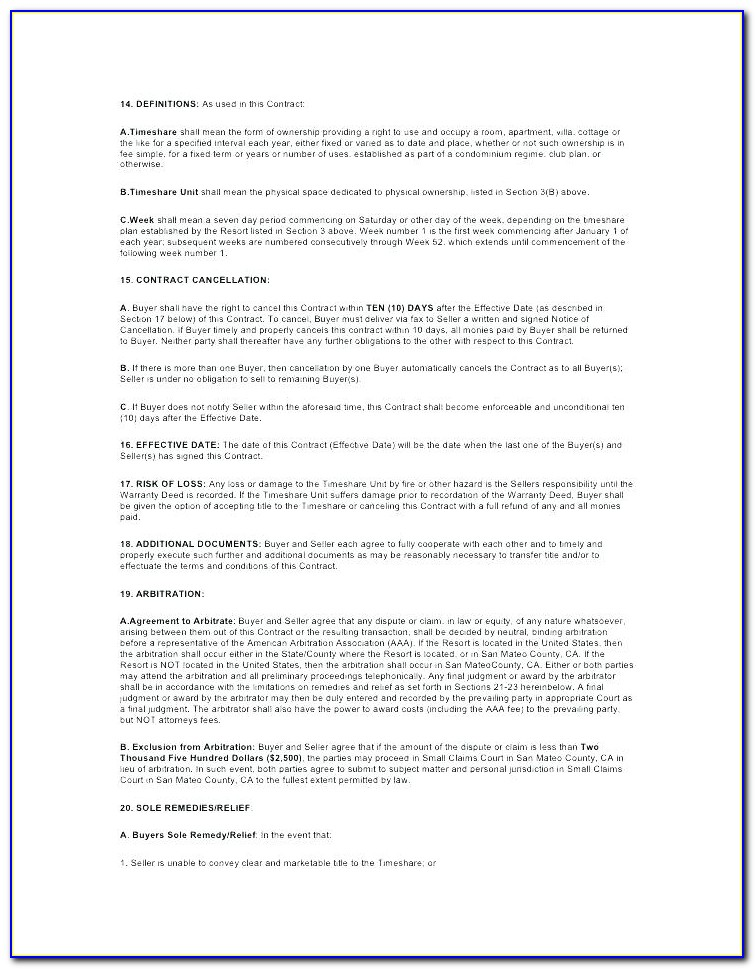 Timeshare Resale Contract Template