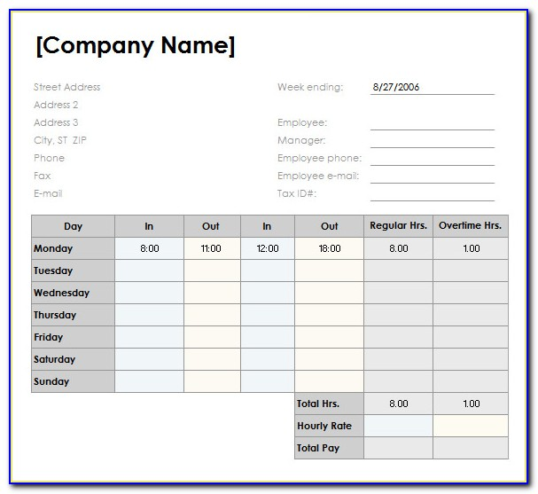 Timesheet Template Excel Free Download