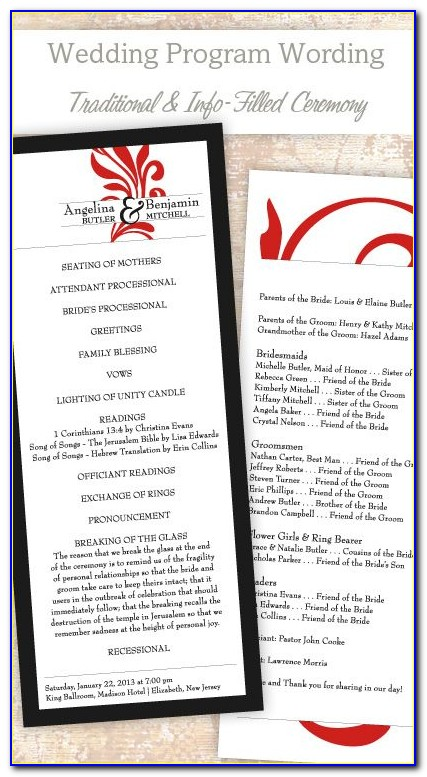 Traditional Wedding Program Sample