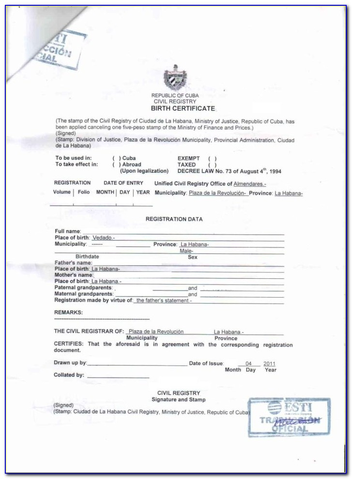 Translate Mexican Birth Certificate To English