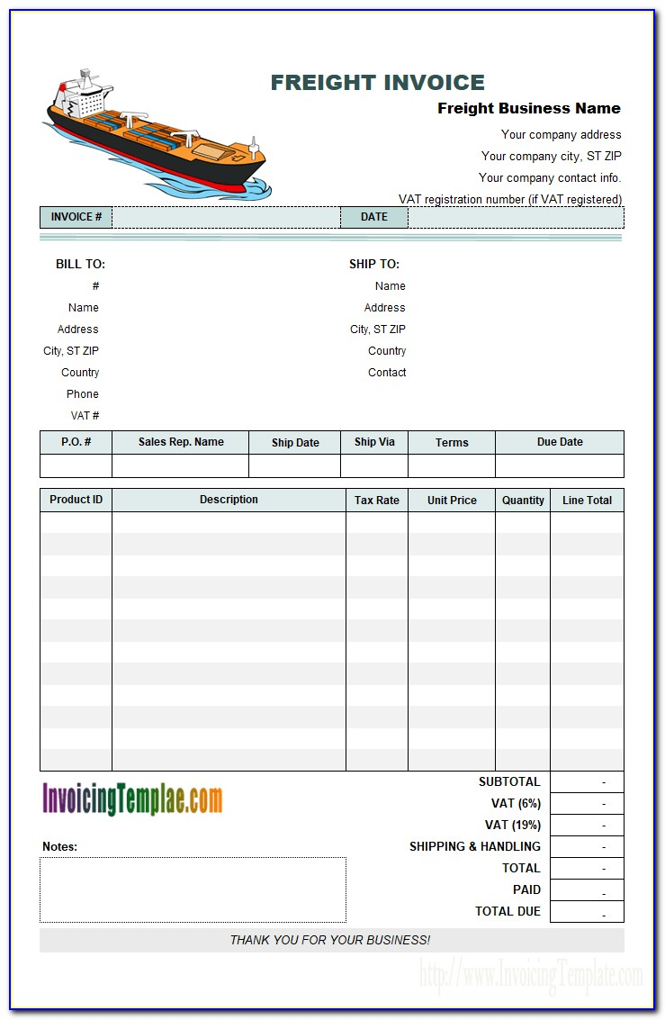 Transport Invoice Example
