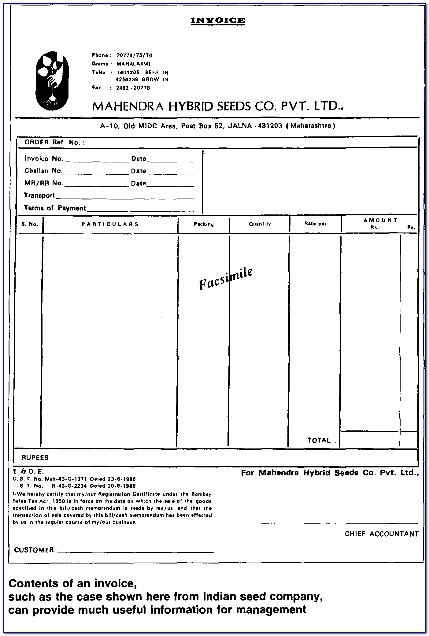 Ch10 Transport Invoice Format
