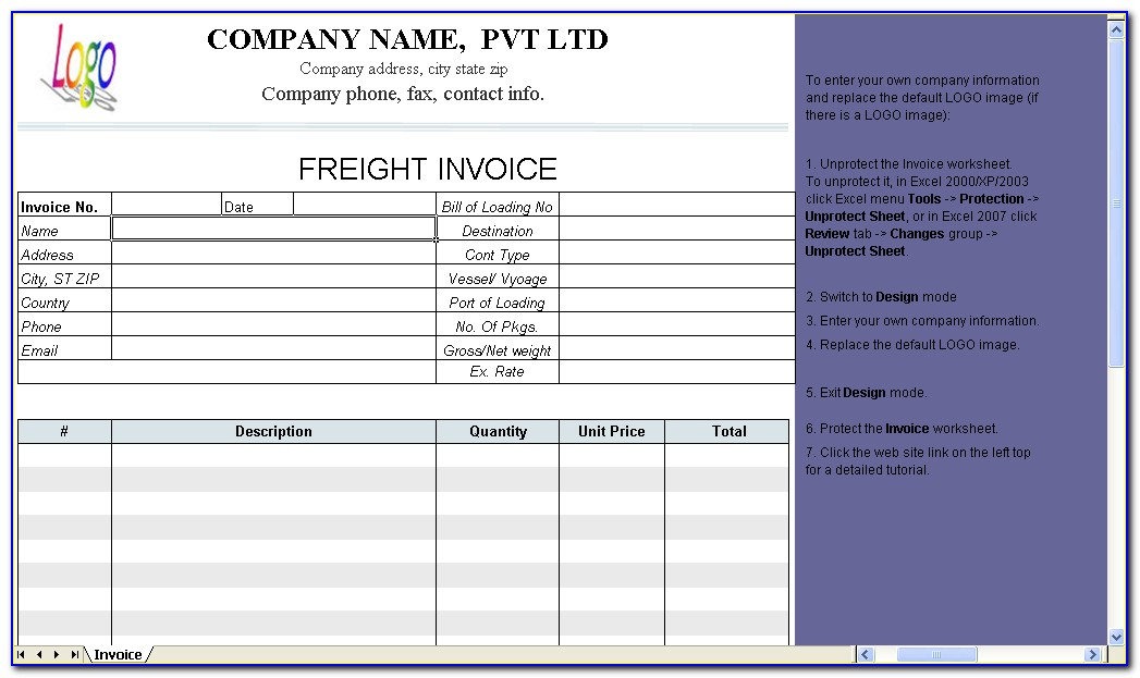 Transport Invoice Format