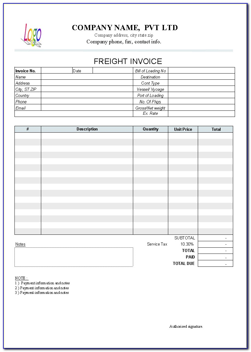 Transport Invoice Template