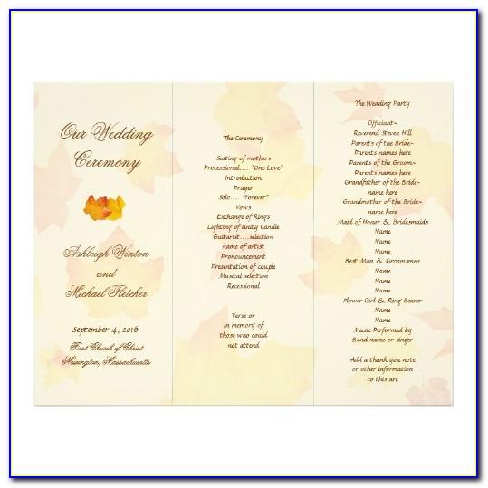 Tri Fold Wedding Program Template Word