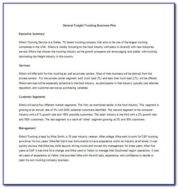 Trucking Business Plan Sample