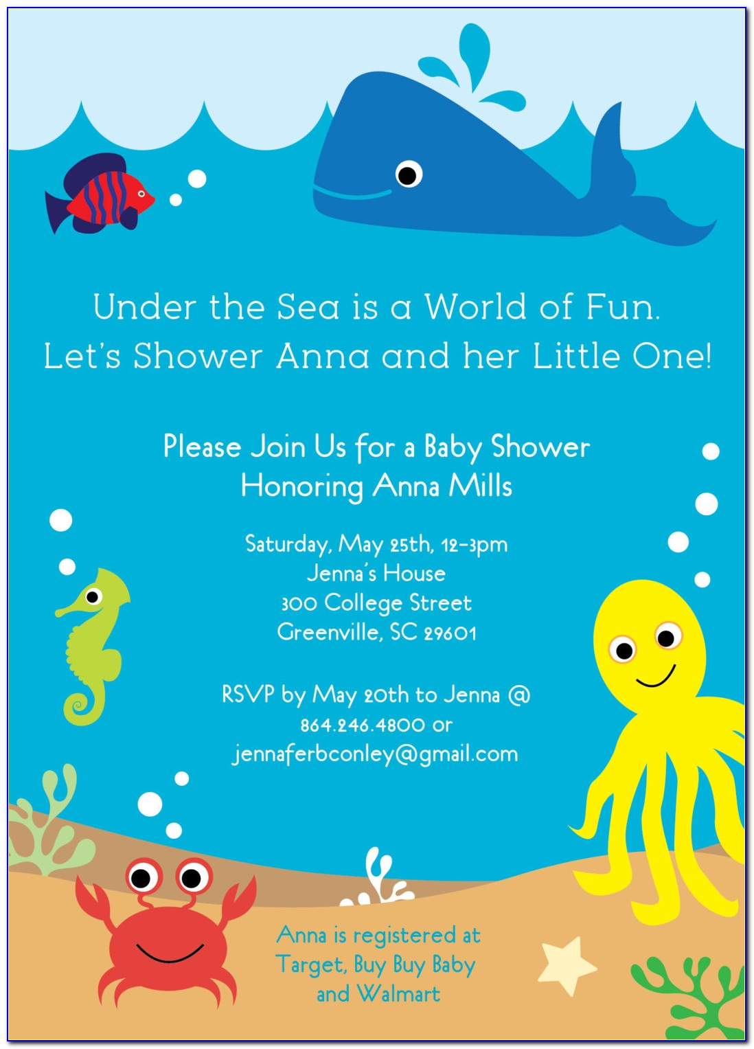 Under The Sea Birthday Invitation Template Free