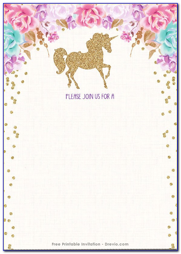Unicorn Birthday Invitation Template Free