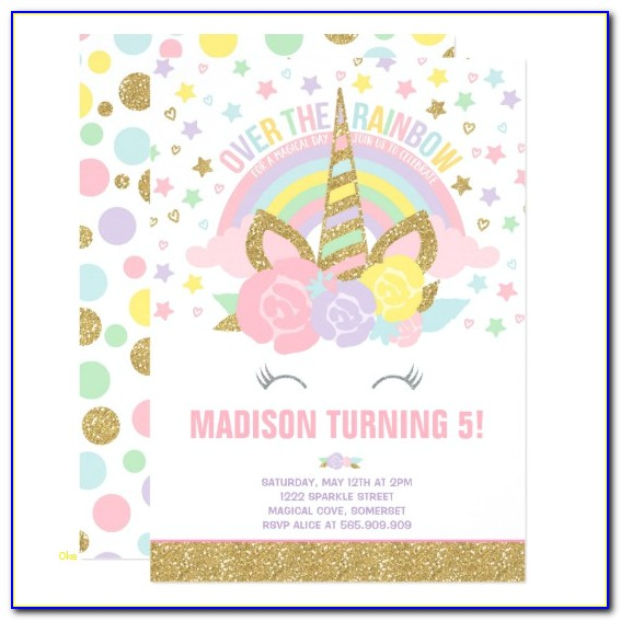 Unicorn Invitation Template Free Inspirational Rainbow Unicorn Birthday Invitation Pink Gold