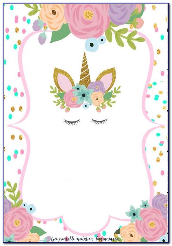 Unicorn Birthday Invitations Templates