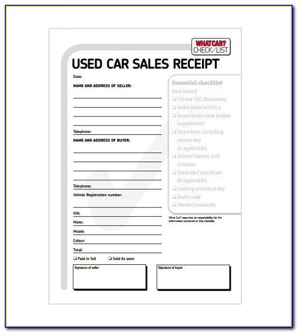 Used Car Receipt Template Ontario