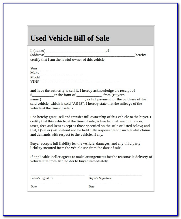 Used Vehicle Bill Of Sale Template Ontario