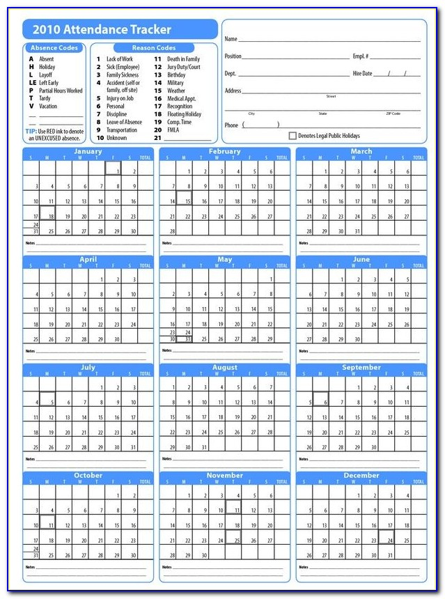 Vacation Day Tracker Template