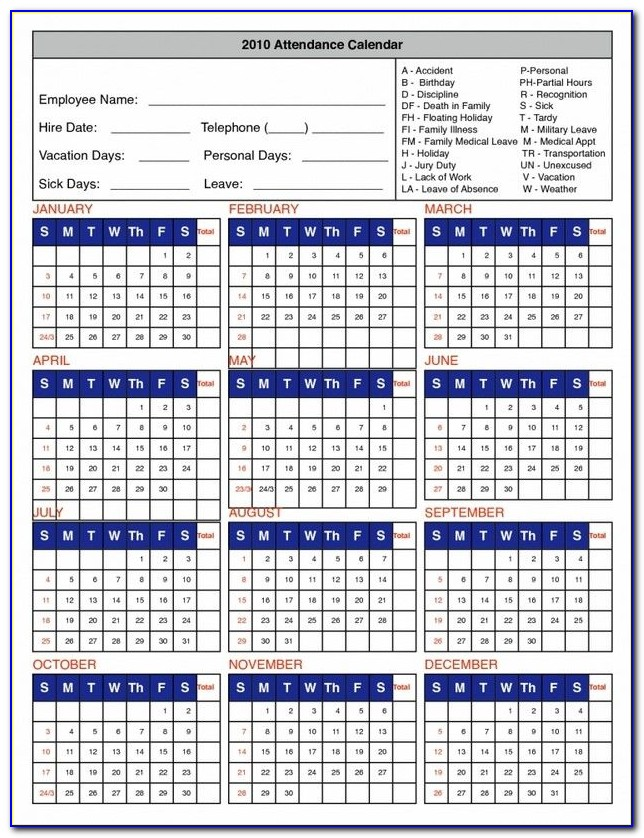 Vacation Tracker Template Excel