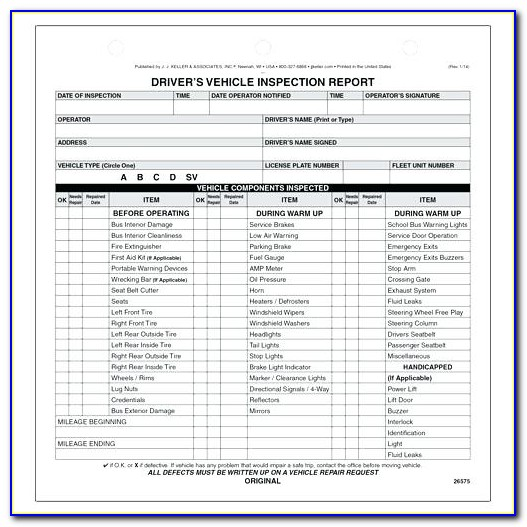 Vehicle Inspection Report Template Pdf