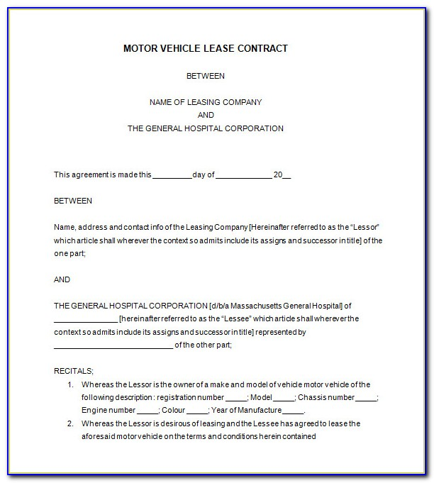 Vehicle Lease Agreement Template Uk
