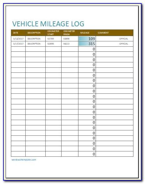 Vehicle Mileage And Maintenance Log Template