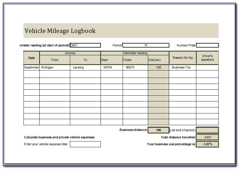 Vehicle Mileage Log Template Canada