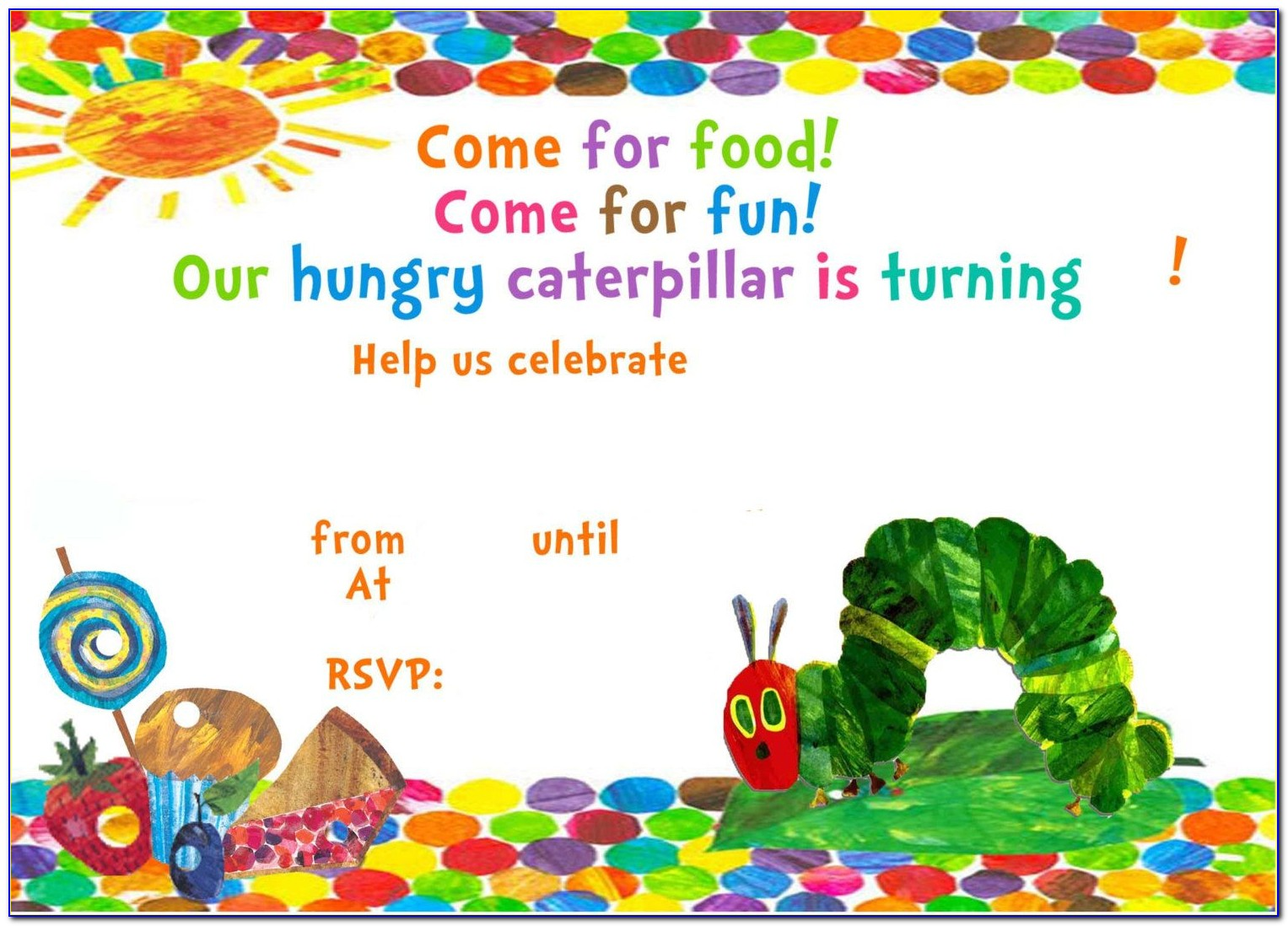 Very Hungry Caterpillar Party Invitation Templates