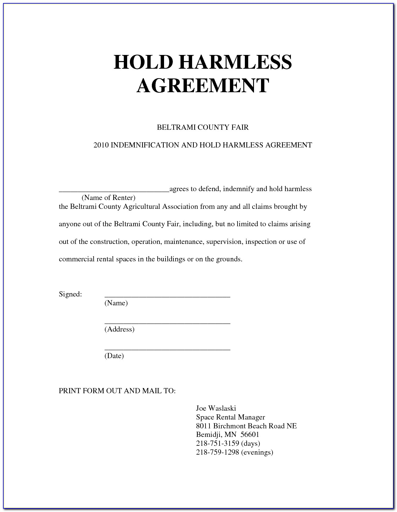 Waiver Release And Hold Harmless Agreement