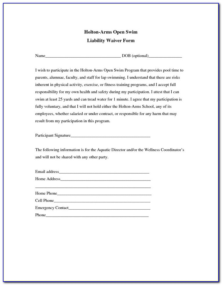 Waiver Release Form Template