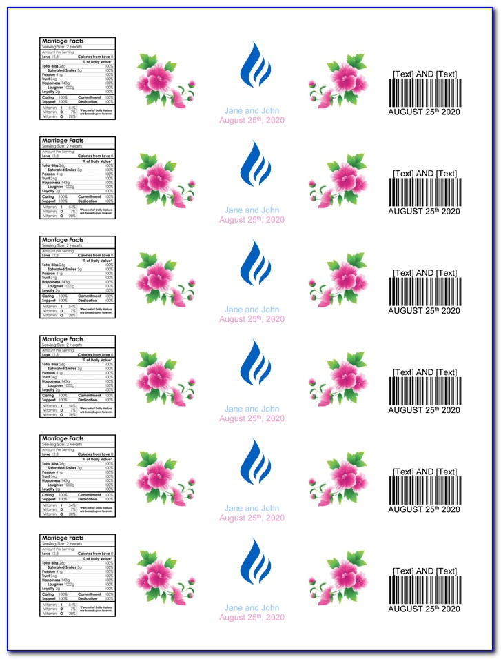 Water Bottle Label Template Word Free