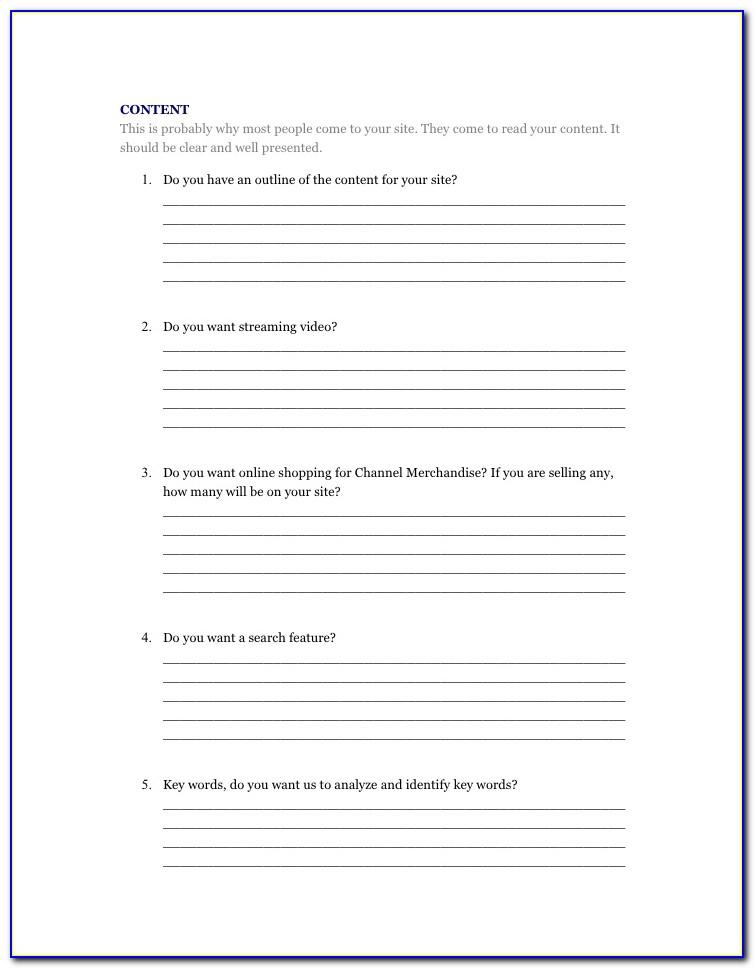 Web Design Client Questionnaire Template