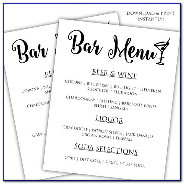 Wedding Bar Drink Menu Template