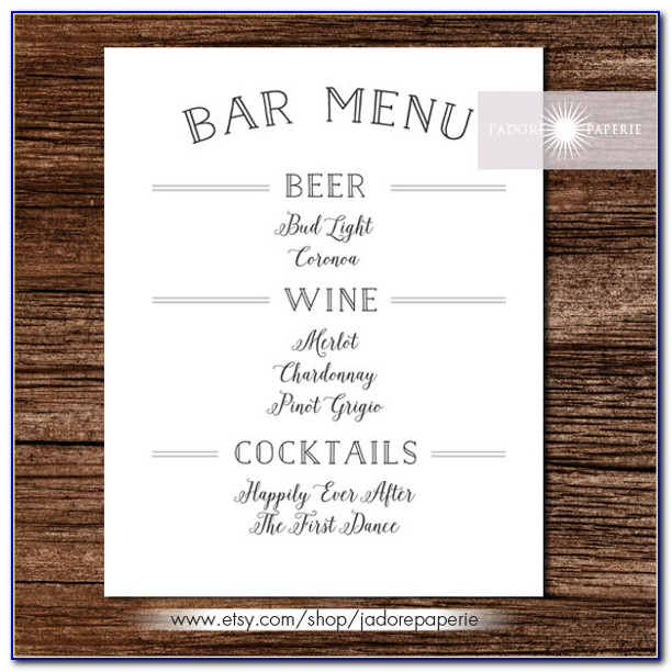 Wedding Drink Menu Templates Microsoft Word