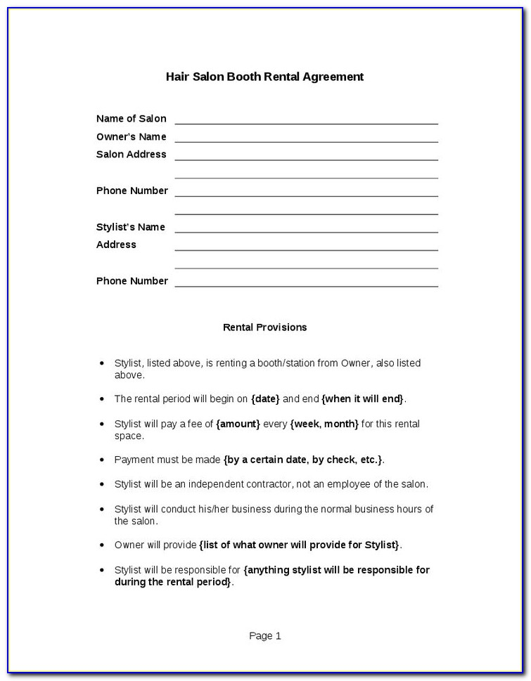 Wedding Hair Stylist Contract Template