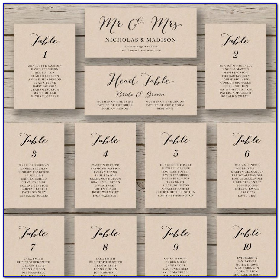 Wedding Head Table Seating Chart Template