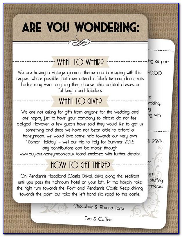 Wedding Insert Cards Template