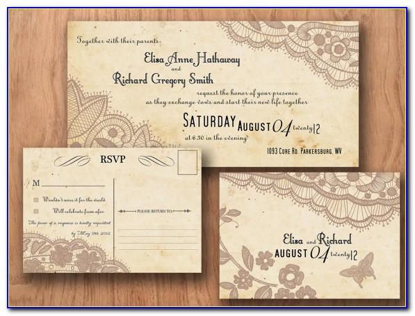 Wedding Invitation Postcard Template Free
