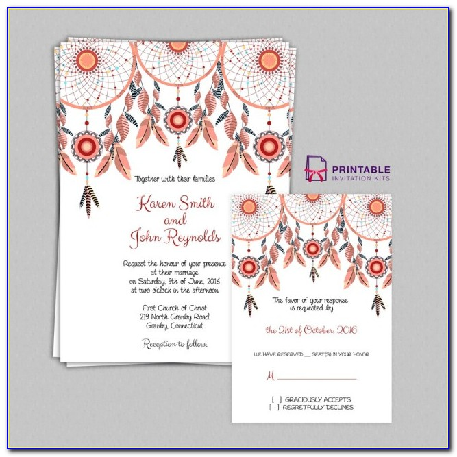 Free Wedding Invitation Templates Printables Boho Theme Dreamcatchers Wedding Invitation Set Wedding
