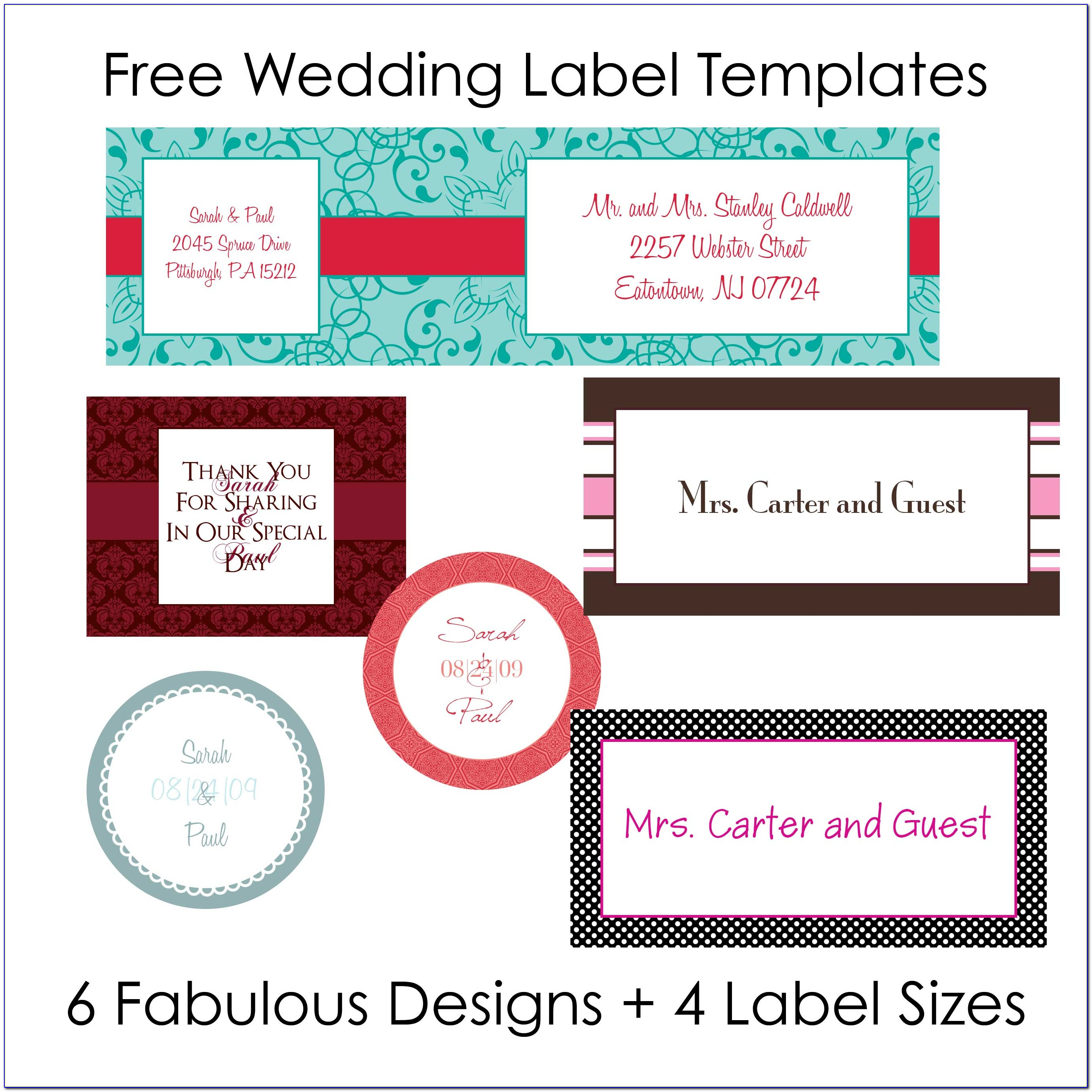Wedding Labels Template Free
