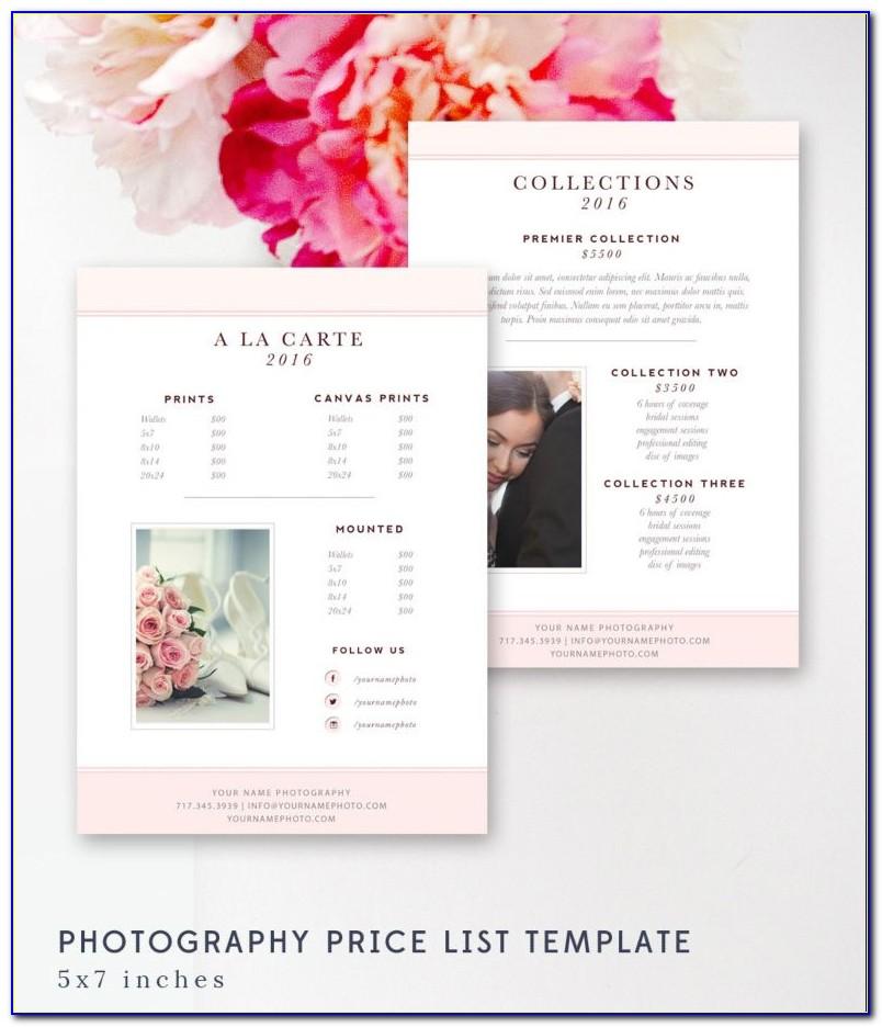 Wedding Photography Price List Templates