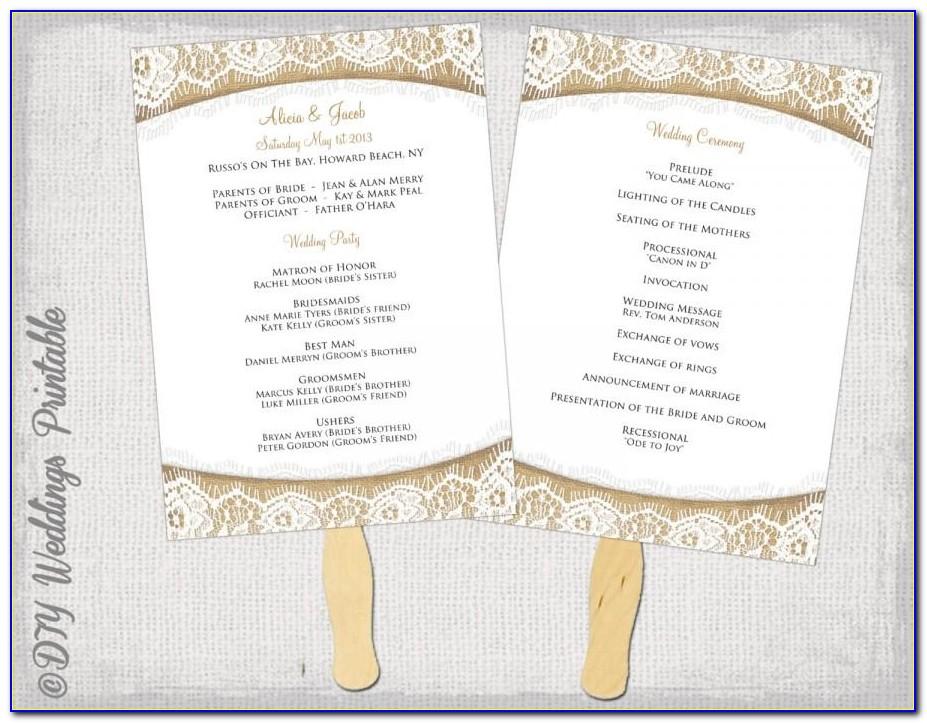 Wedding Program Fan Template Free Download