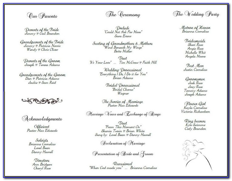 Wedding Program Layout Template