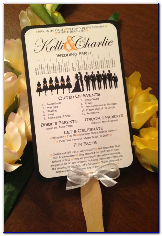 Wedding Program Paddle Fan Template