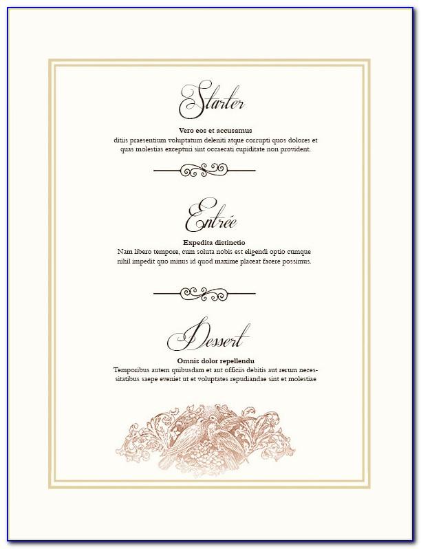 Wedding Reception Menu Template Free