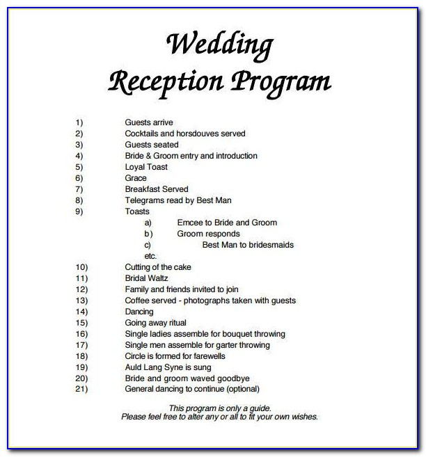 Wedding Reception Program Templates Free Download