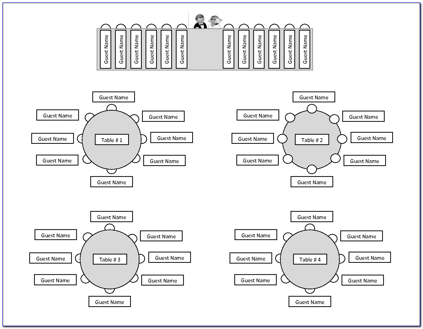 Wedding Reception Seating Chart Template Round Tables