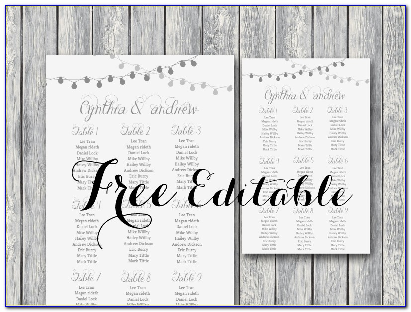 Wedding Round Table Seating Chart Template