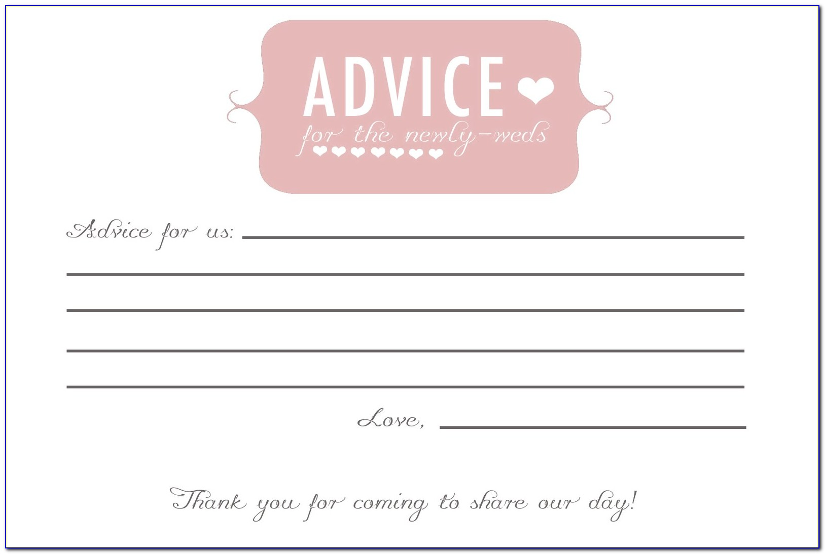 Wedding Shower Advice Cards Template