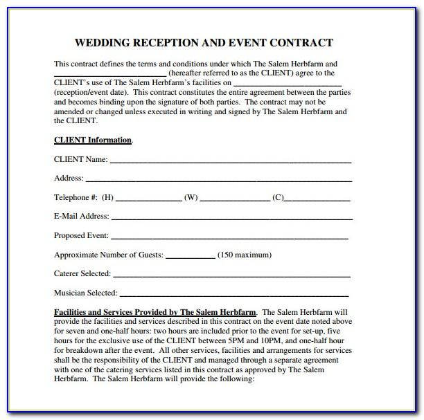 Wedding Venue Contract Template Uk