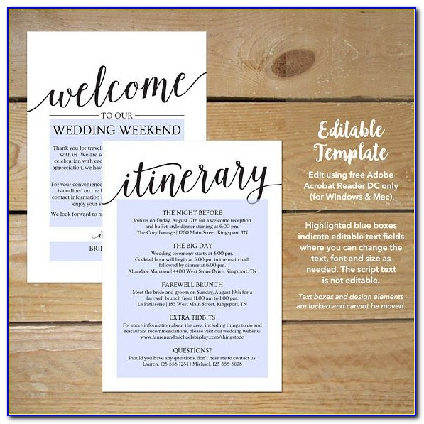 Wedding Welcome Bag Itinerary Template Free