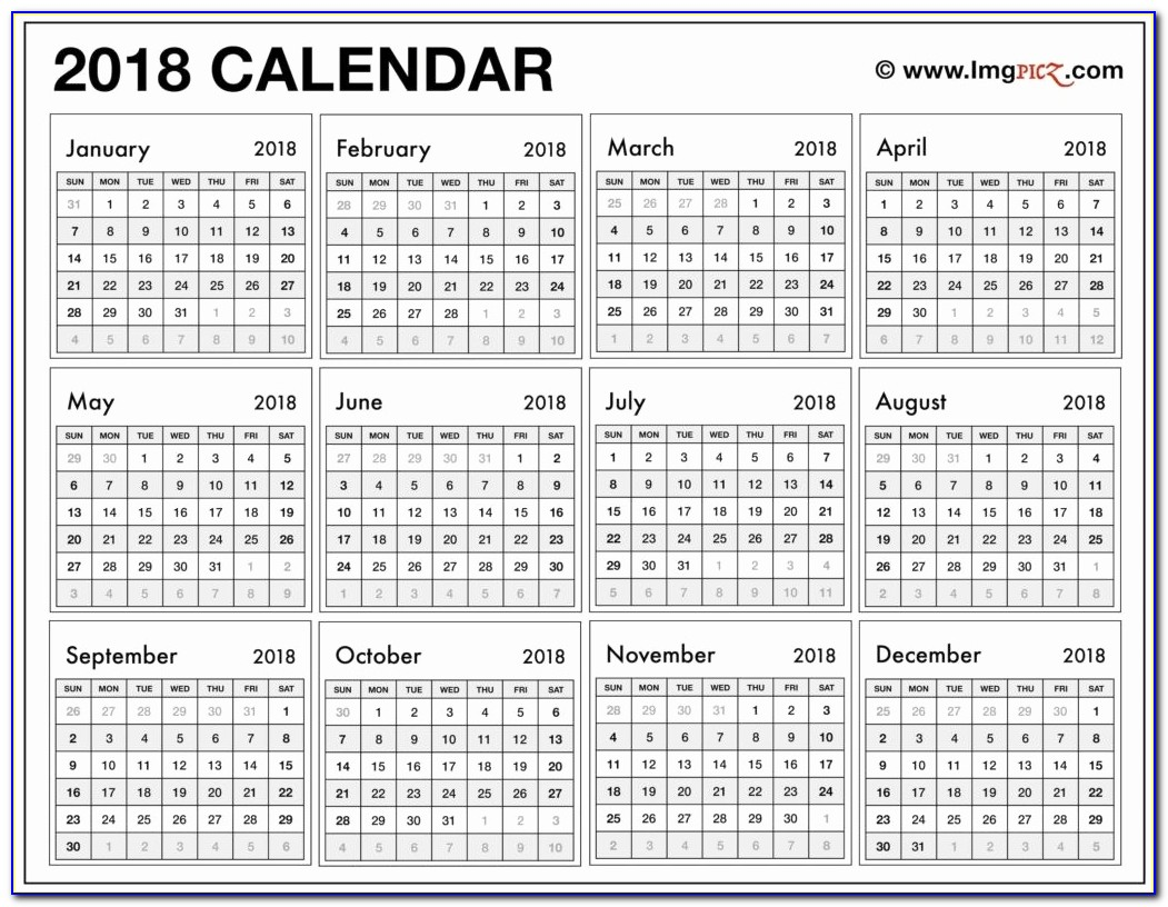 Fresh 25 Illustration Year At A Glance Calendar 2018 Printable 2018 Calendar 12 Pages